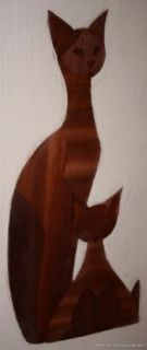 Pair of Mel Quimby Cats Veneer Mid Century Modern Eames Era