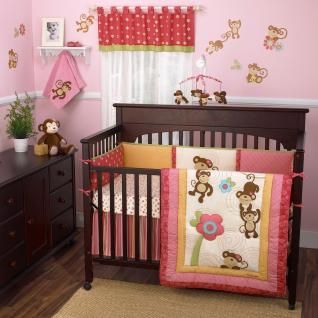 Bright Colors Pink and Brown Monkey 5p w/ Bumper Baby Girl Nursery