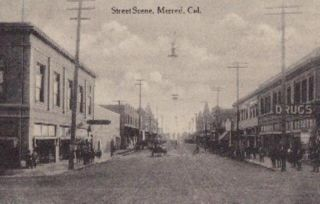 Merced California Street Scene Postcard
