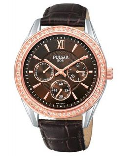 Pulsar Watch, Womens Chronograph Brown Leather Strap PP6008