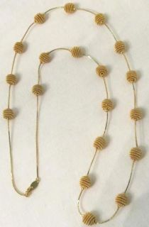 Trifari Vintage Gold Tone Coil Mesh Ball Necklace
