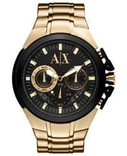 Armani Exchange Watch, Mens Gold Ion Plated Stainless Steel
