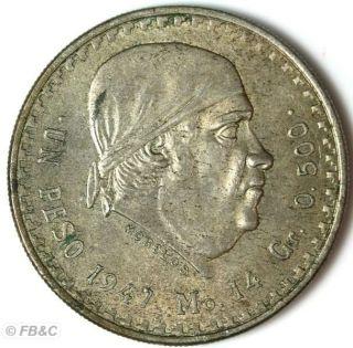 1947 Mexico Silver Peso Coin KM 456