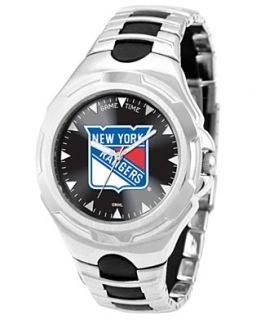 Game Time Watch, Mens New York Rangers Black Rubber and Stainless