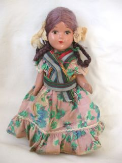 Vintage 1940s Mexican Girl 9 Composition Doll w Braids , Painted Eyes
