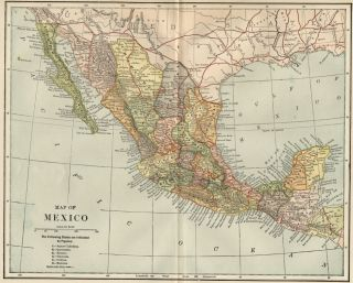 Mexico Map 1891 Showing States Cities Towns RRs Topography
