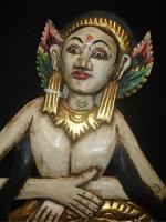 Balinese Mermaid Goddess Mirror Hand Carved Wood Traditional Bali Wall