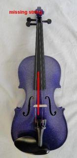 Mendini 1 4 MV Purple Solid Wood Purple Violin Hard Case Shoulder Rest