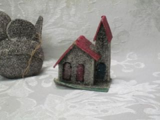 Vintage Mica Putz Christmas Tree Ornaments House Church Bird Candy