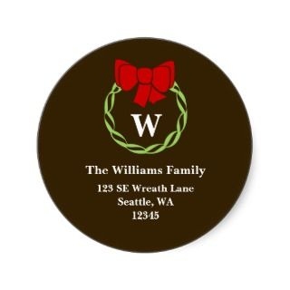 Holiday Wreath Monogram Christmas Address Labels Sticker