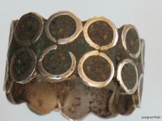 Vintage Mexican Taxco Sterling Silver Chip Mosaic Band Ring 3 Eagle