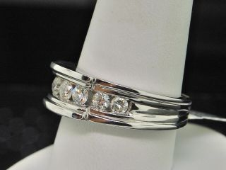 Mens White Gold Channel Round Diamond Wedding Band Ring