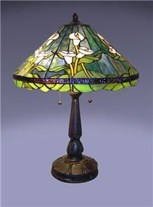 Tiffany Style Handcrafted Stained Glass Calla Lily Table Lamp High 24