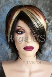 Wigs Short Messy Layers Side Bangs Brown Auburn Blonde Wig US Seller