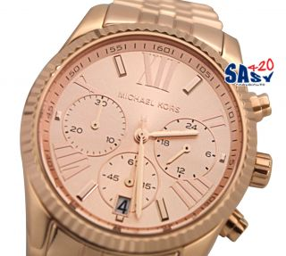 Michael Kors MK5569 Lexington Chrono Rose Gold Dial Metal Band Women