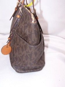 Michael Kors Brown Monogram Logo E w Jet Set Tote Handbag 570