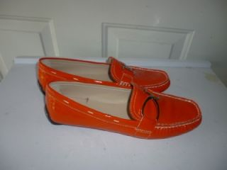 New Sz 7 5M Michael Shannon Orange Patent Leather Driving Moccasin