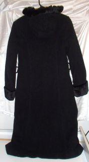 Rothschild Girls Black Hooded Wool Blend Dress Coat ~ Five Button Size