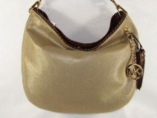 Michael Kors Bennet Bennett Large Gold Canvas Shoulder Bag Purse Hobo