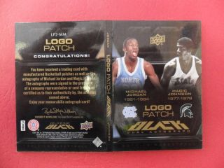 Michael Jordan Magic Johnson Dual Logo Patch Auto Book D 25