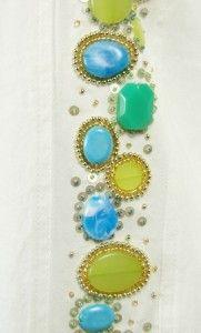 Berek Womens Cotton Sequin Stone Embellished Jean Jacket White Green