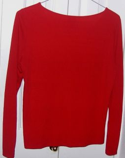 Fisher True China Red Stretch Silk Jersey Long Sleeve Tee Top M