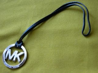 New Michael Kors Polished Silver Chrome MK Black Leather Strap Hangtag