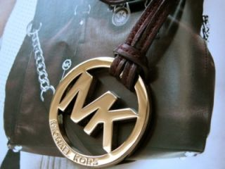 New Michael Kors MK Gold Dark Brown Hang Tag Charm
