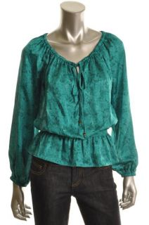 Michael Kors New Green Printed Tie Neck Long Sleeve Blouse Top Shirt