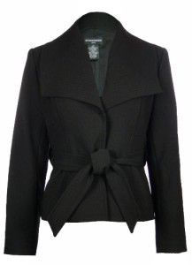 Sutton Studio Womens Wing Collar Belted Jacket 12 Black Wool Blend