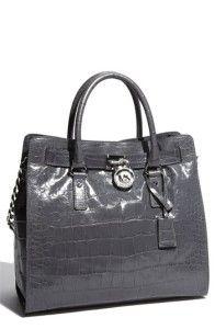 Michael Kors Handbag Tote Hamilton Slate Large N s Leather Bag Purse $