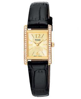 Pulsar Watch, Womens Black Leather Strap PEGC54