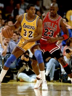 D6862 Magic Johnson vs Michael Jordan Lakers NBA Basketball 32x24