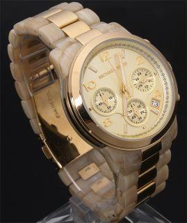 New Michael Kors MK5139 Horn Gold Chrono Women Watch