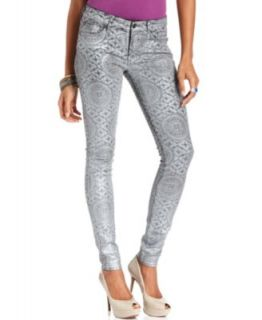 For All Mankind Jeans, Skinny Silver Printed Coated Denim