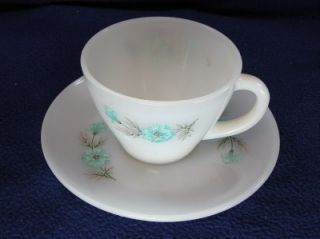 Floral Milk Glass Cup and Saucer from Designing Women