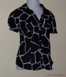 MICHAEL KORS Bk/Wt Animal Print Cap Sleeve Camp Shirt NWT $70 NEW Plus