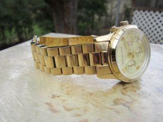 Michael Kors Womens Runway Gold Tone Chronograph Watch MK5055 M58