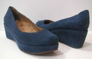 Jeffrey Campbell Womens Blue Platform Suede Leather Wedge Heels Shoes