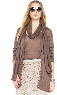 Michael Skinny Scarf Long Boyfriend Cardigan Ruffle Skirt in Brown