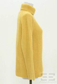 Michael Kors Golden Yellow Ribbed Cashmere Turtleneck Sweater Size 3