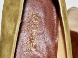 Michael Kors Green Suede Brown Leather Flats Shoes 10