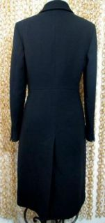 Crew Womens Gorgeous Black Long Length Lined Wool Dress Coat Sz 4