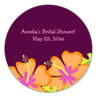 Purple Hibiscus Flower Custom Favor Sticker