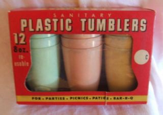 Vintage Plastic Drinking Glasses Tumblers Box of 12 8 oz Cups 3 Colors