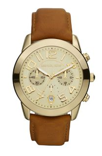 MICHAEL KORS GOLD TONE CHRONOGRAPH BROWN LEATHER BAND LADIES WATCH