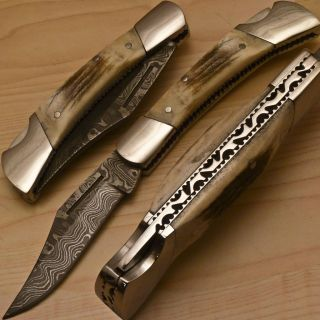 Michelles Custom Made Damascus Folding Pocket Knife Stag Antler BK