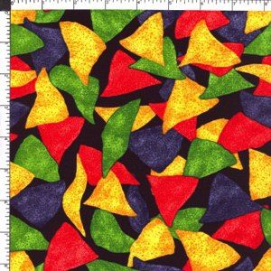 Blue Gold Red Corn Mexican Tortilla Chips Fiesta Food Cotton Fabric 44