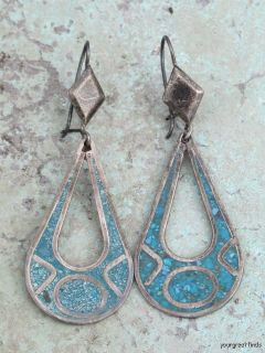 Vintage Mexican Sterling Silver Turquoise Chip Mosaic Earrings w Eagle