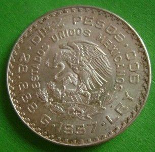 1957 Juarez Silver 10 Pesos Mexican Coin Centennial